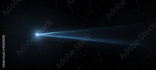 Obraz na plátně Comet, asteroid, meteorite flying on the background of the starry night sky