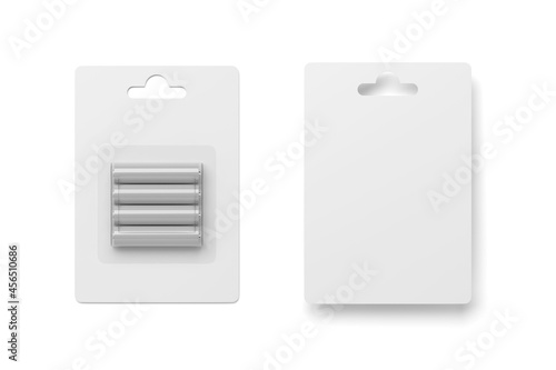 Tablou Canvas AAA batteries in blister pack isolated on white. 3D rendering.