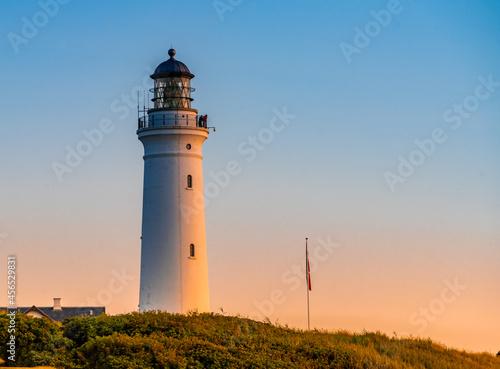 Fototapeta Hirtshals lighthouse (Hirtshals fyr) a famous landmark in the seaport town on the coast of Skagerrak at the top of the Jutland peninsula, Denmark
