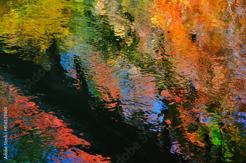 Foto Reflections of autumn trees in a small brook makes for a painterly look