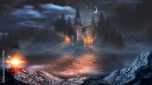 Obraz na plátně Futuristic fantasy night landscape with abstract landscape and island, moonlight, radiance, moon, neon