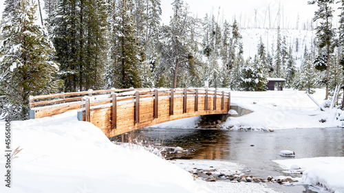 Fotografie, Tablou Wood footbridge in winter with snow and a stream