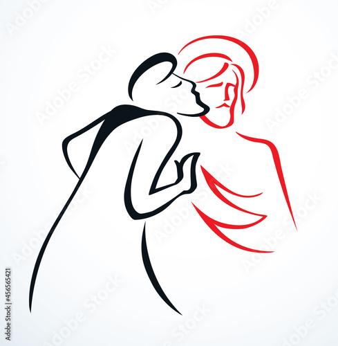 Obraz na płótnie Kiss of Judas. Betrayal. Vector drawing