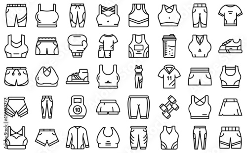 Canvastavla Workout fashion icons set outline vector