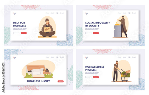 Photo Homeless People Landing Page Template Set