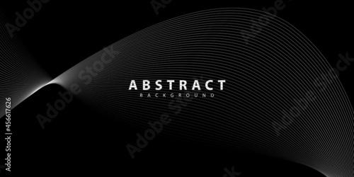 Fotografie, Obraz Abstract black background. wave line texture