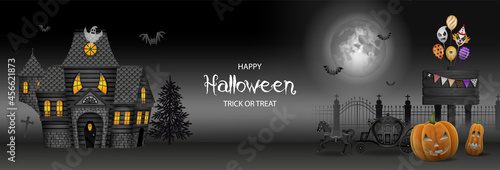Fotografie, Obraz Halloween banner with haunted house, pumpkins and party balloons