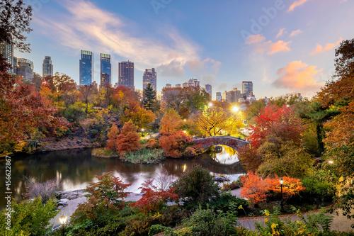 Canvas Central Park in autumn  in midtown Manhattan New York City