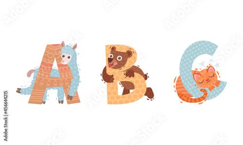 Fototapeta premium Animal Alphabet Capital Letter with Bear and Alpaca Vector Set