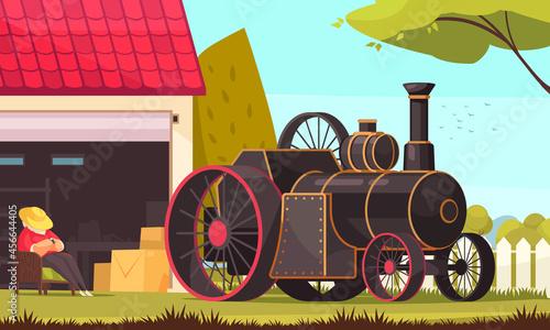 Fotografie, Obraz Steam Engine Car Composition