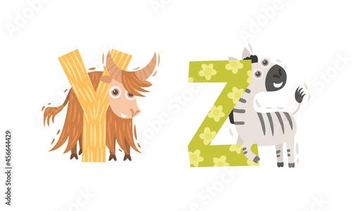 Fototapeta premium Animal Alphabet Capital Letter with Yak and Zebra Vector Set