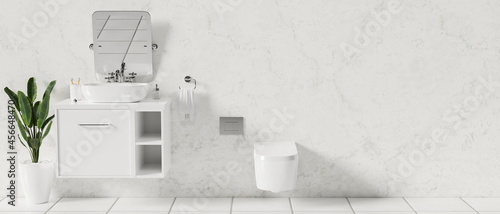 Fotografiet Interior of modern white bathroom with ceramic washbasin on counter, mirror, toi