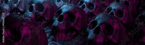 Obraz na plátně Scary occult still life with human skulls and science fiction surface