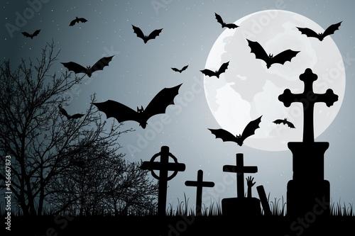 Fotografie, Obraz Décor avec chauves-souris pour la nuit d'halloween