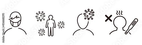 Fototapeta Set of Coronavirus and Vaccine line icons, covid19, Medical mask, health, contag