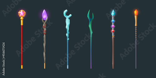 Photo Set of magic staff, walk sticks or wands with glow gems, frozen ice crystal and pink glass star