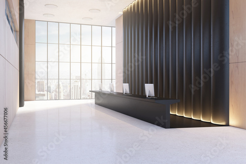 Foto Modern black and wooden office lobby with reception desk and windwo with city view