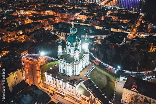 Obraz na płótnie Aerial view of St Andrew's Church in Kyiv
