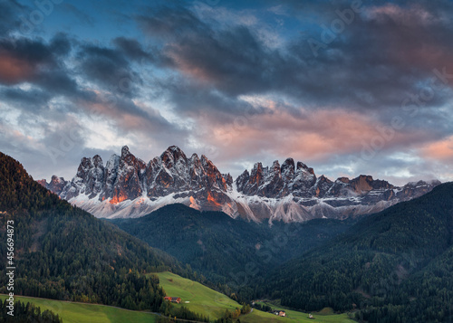 Wallpaper Mural Alpenglow on dramatic mountain peaks