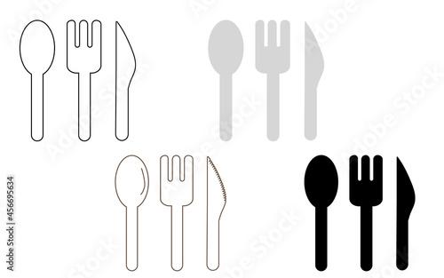 Fotografia, Obraz スプーンとフォークとナイフのアイコンバリエーションセット