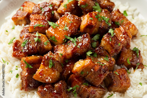 Canvastavla Chinese traditional cuisine sticky braised pork belly with rice on white plate
