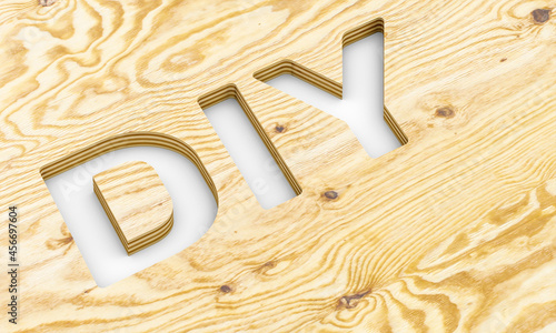 Fotografiet diy lettering milled into a plywood panel.