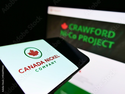 Fototapeta premium STUTTGART, GERMANY - Feb 16, 2021: Cellphone with logo of mining business Canada Nickel Company Inc. on screen in front of web page.