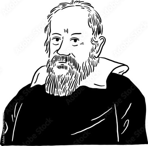 Foto Galileo Galilei Italian astronomer physicist and engineer Hand draw line art Por