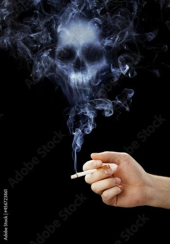 human scull appears in cigarette smoke Fototapeta