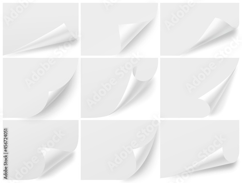 Curled corners blank sheets Fotobehang