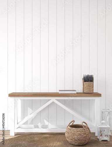 Billede på lærred Scandinavian farmhouse hallway interior, blank wall mockup, 3d render