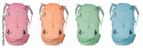 Canvas Print Different hiking backpacks on white background, collage