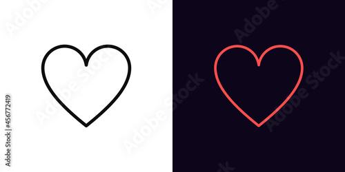Obraz na plátně Outline heart suit icon, with editable stroke