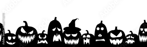 Fotografiet scarry seamless background with different pumpkins for halloween layouts