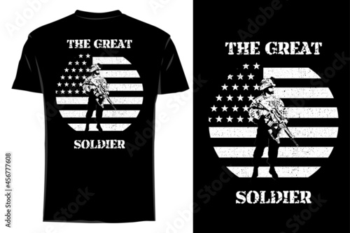 mockup t-shirt silhouette the great soldier retro vintage Fototapet