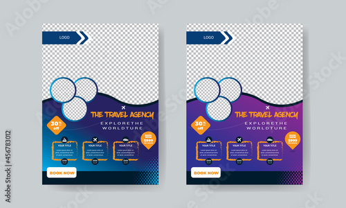 Fotografiet Travel flyer template design with contact and venue details.
