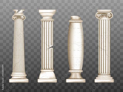 Canvas Baroque pillars, roman renaissance cracked columns