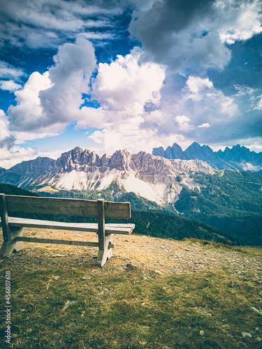 Fototapeta Italy, South Tyrol, Brixen, Vilnoess Valley, view to Plose with Geisler group in