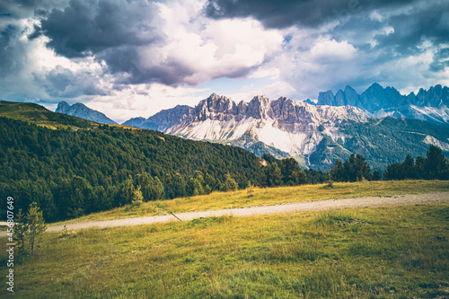 Fotografie, Obraz Italy, South Tyrol, Brixen, Vilnoess Valley, view to Plose with Geisler group in