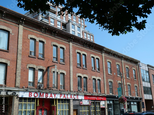Fototapeta premium Toronto, Canada - September 13, 2021: King Street and Jarvis Street area is the oldest part of Toronto, and preserves historic commercial buildings, such as these from the 1860s