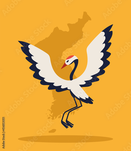Fototapeta premium korean map and crane bird