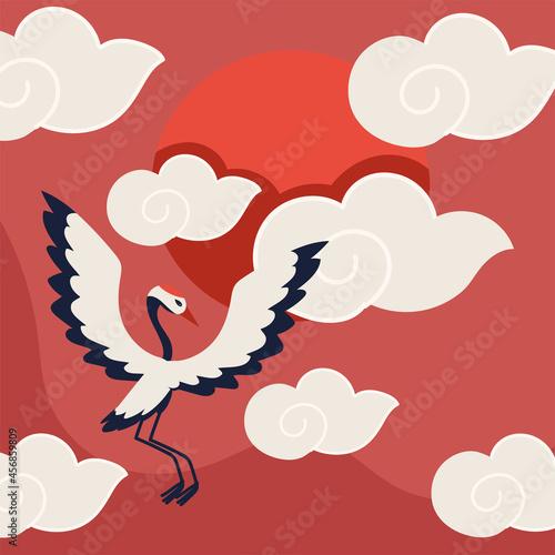 Fototapeta premium crane bird and clouds