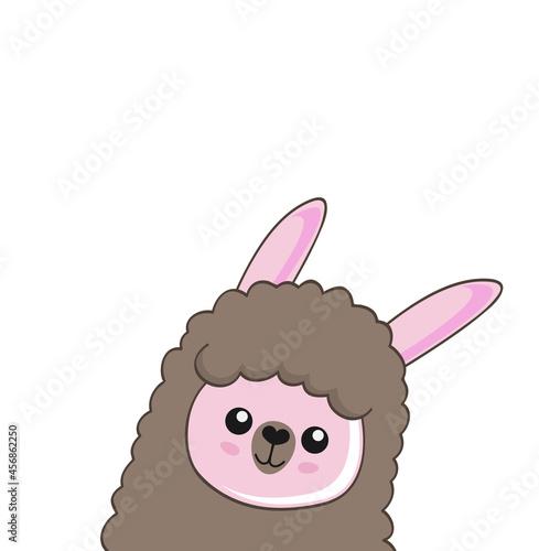 Fototapeta premium Cute cartoon alpaca drawing on bright background