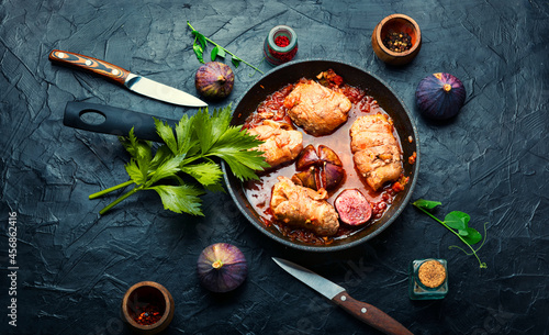 Fotografie, Obraz Chicken breast roll roast with figs