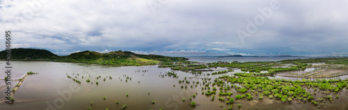 Fotografiet Aerial Panorama over the Fishponds and Settlers area of Surigao City Philippines