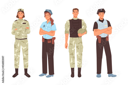 Canvastavla Police and military officer isolated men women cartoon characters
