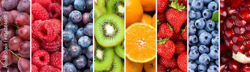 Fotografie, Obraz Fruits. Background of mixed ripe fruits and berries. Fresh food