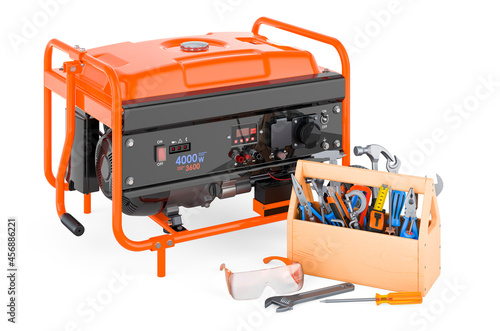 Photo Gasoline generator with toolbox