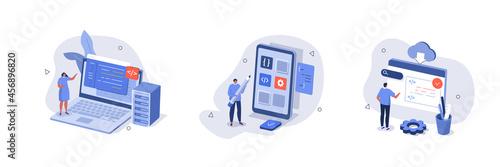 Obraz na plátně People characters developing software program and mobile app