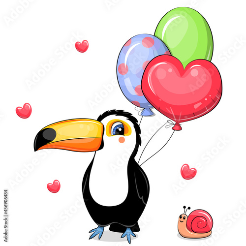 Fototapeta premium Cute cartoon toucan with balloons and snail. Vector illustration of a bird on a white background with hearts.